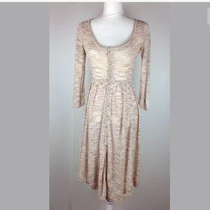 FREE PEOPLE Vintage Knit Dress button down boho